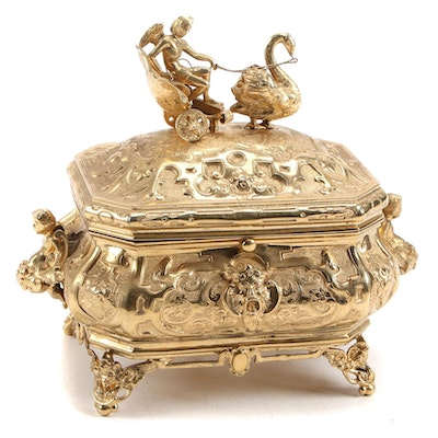 Baroque Style Gilt Metal Jewelry Casket with Swan Drawn Chariot, Early 20th C.