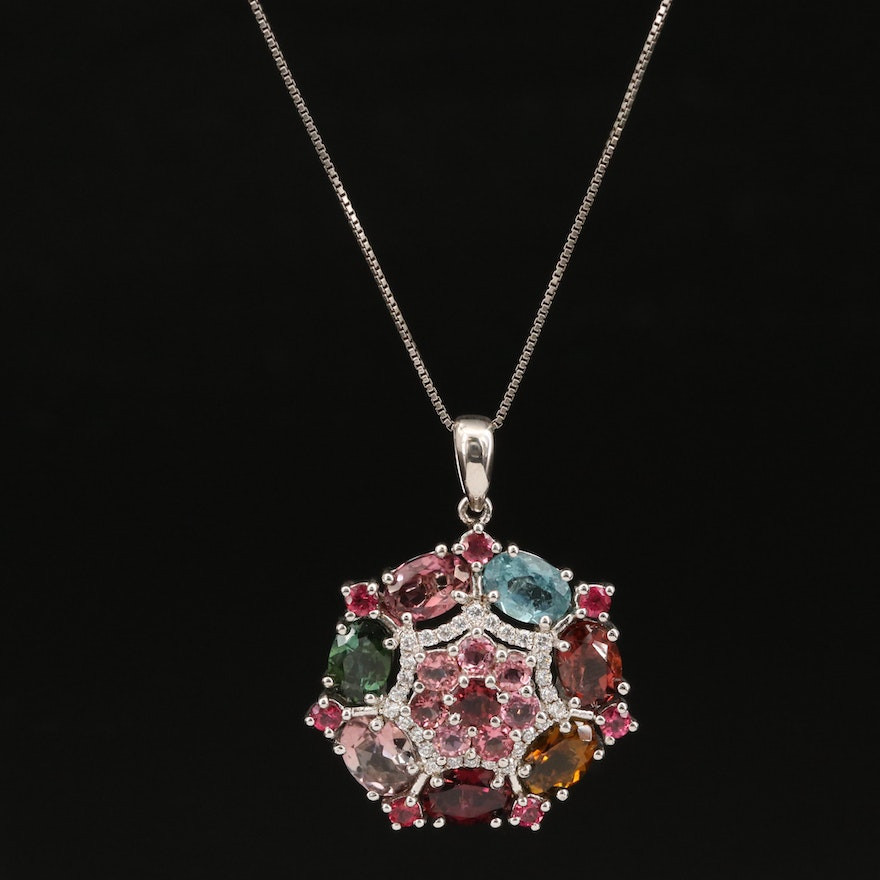 Sterling Silver Tourmaline and Cubic Zirconia Necklace