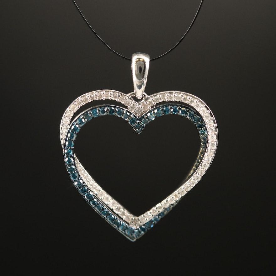 Sterling Silver Diamond Double Heart Pendant