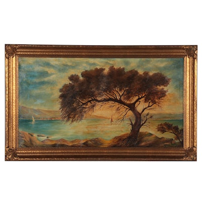 Jacques Lang Coastal Landscape Oil Painting of Large Tree