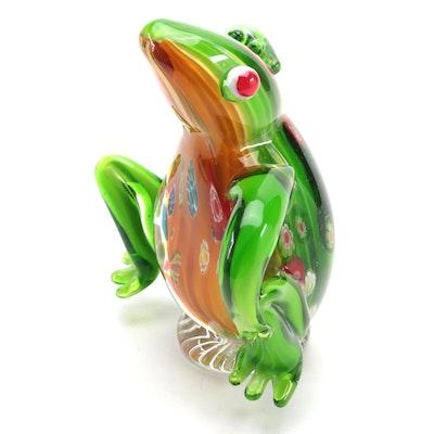 Art Glass Floral Motif Figural Frog