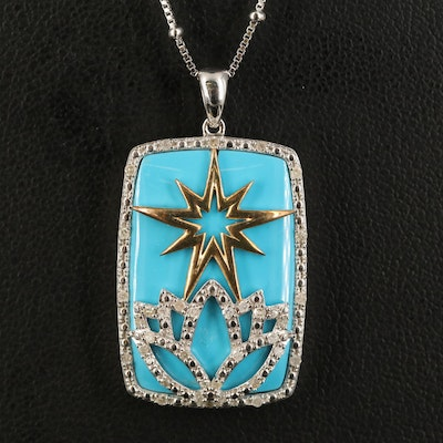 Sterling Lotus and Star Pendant Necklace with Diamond Accents