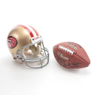 Merton Hanks Signed Riddell San Francisco 49ers Helmet and Wilson Football