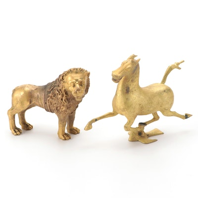 """Gilt Metal """"Flying Horse of Gansu"""" and Standing Lion Figurines"""