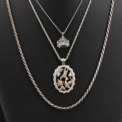 Sterling Necklaces Including Crown and a Tri-Color Bird Pendant
