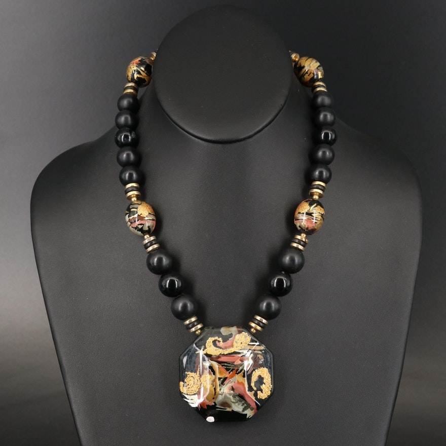 Ceramic Beaded Pendant Necklace