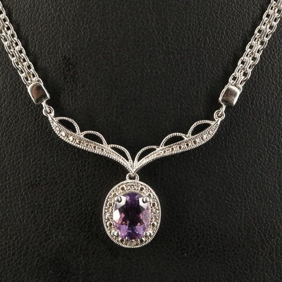 Sterling Silver Amethyst and White Sapphire Drop Necklace