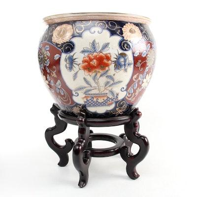 Imari Style Ceramic Fish Bowl Planter and Stand