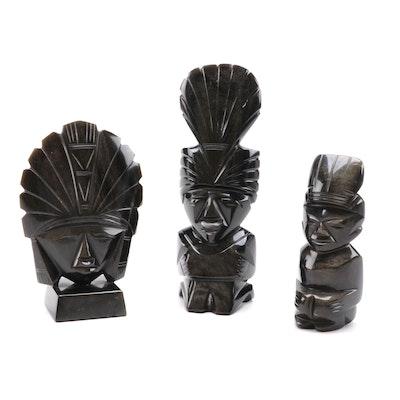 Aztec Inspired Sheen Obsidian Figurines