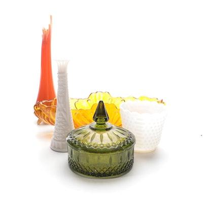 Mid Century Modern Orange Swung Vase and Other Tableware