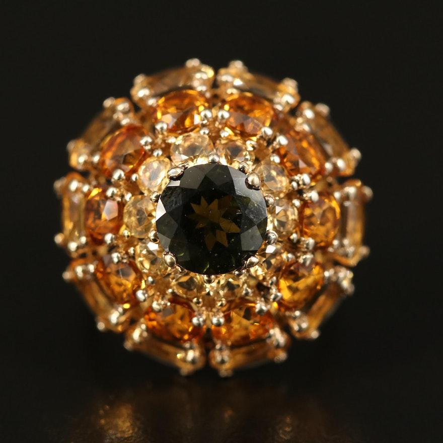 Sterling Silver Moldavite and Citrine Domed Ring