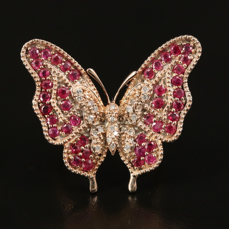 Sterling Silver Ruby and Diamond Butterfly Ring