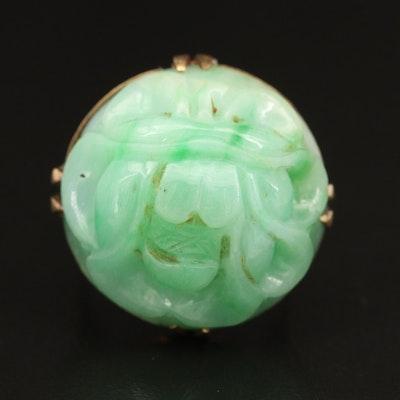 Vintage Asian Inspired 14K Carved Jadeite Flower Ring