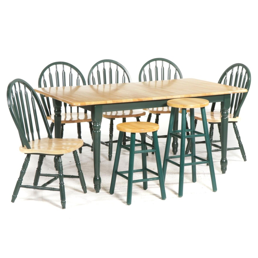 American Primitive Style Green-Painted and Blonde Wood Dining Set