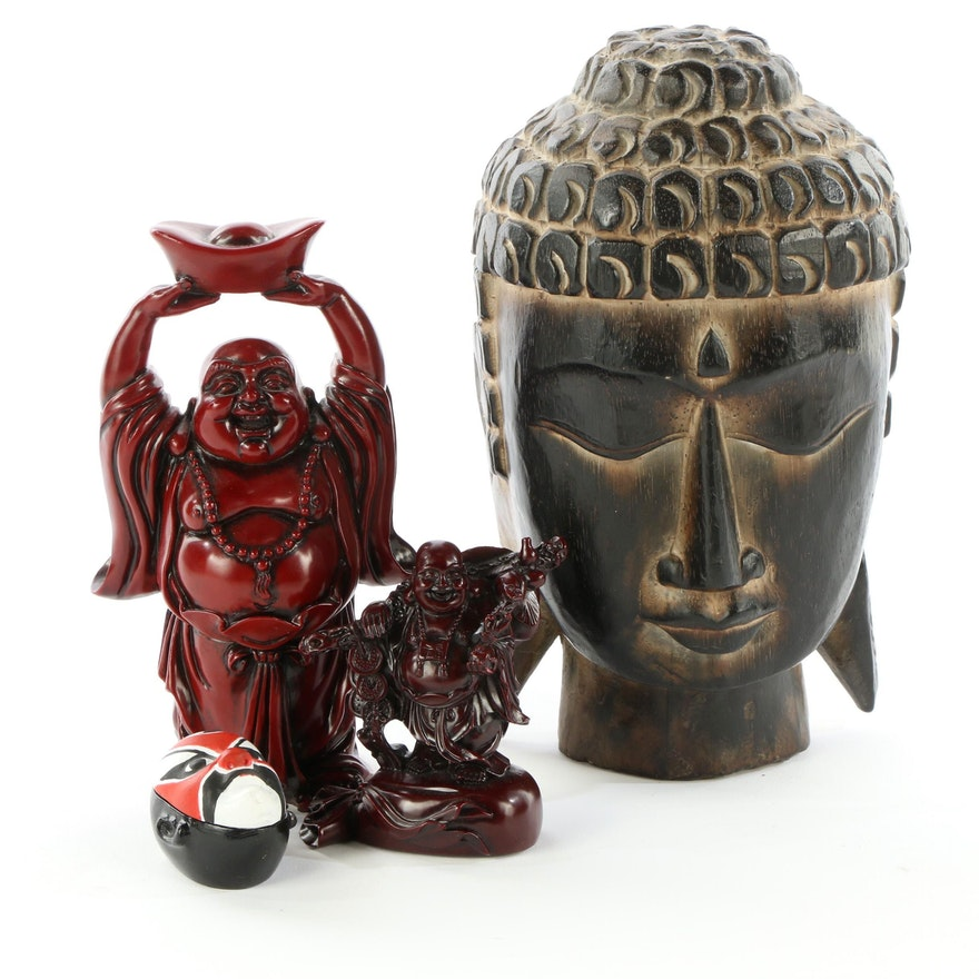 Carved Wood Buddha and Resin Budai Figurines with Wooden Trinket Box