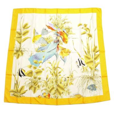 Gucci Silk Twill Scarf in Tropical Sea Life Print