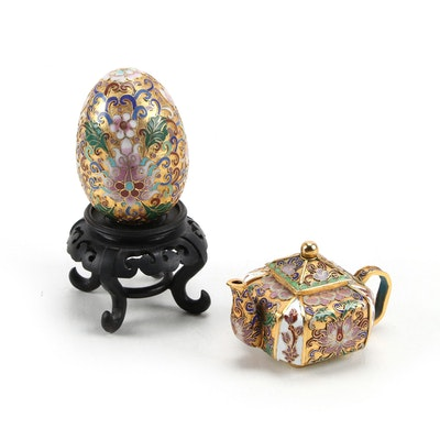 Chinese Champlevé Miniature Teapot and Egg on Wood Base