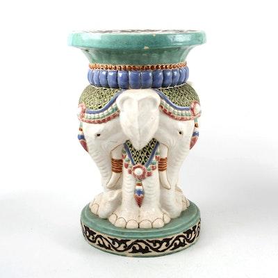 Chinese Style Glazed Ceramic Elephant Head Garden Stool