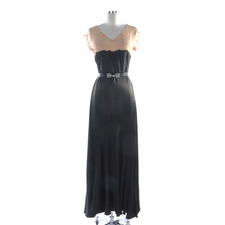 Bias Cut Satin and Lace Gusset Gown with Rhinestone and Beaded Belt, 1930s