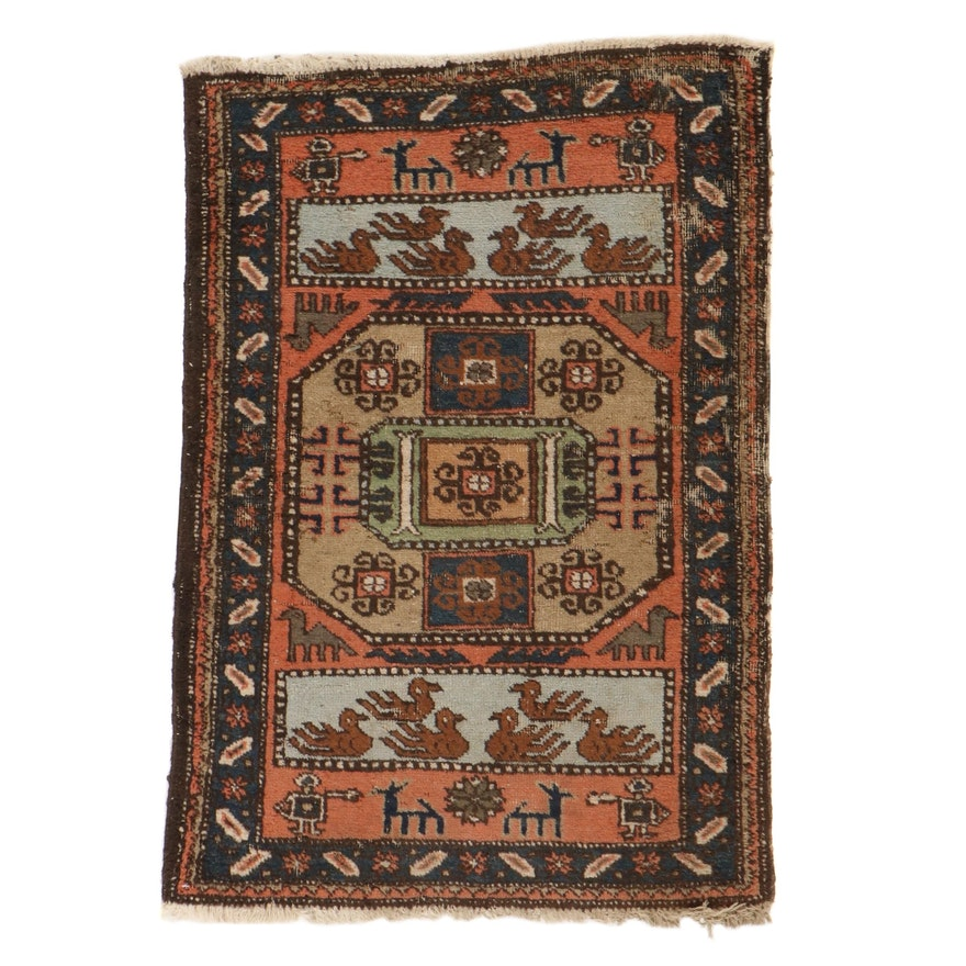 2'7 x 3'10 Hand-Knotted Persian Ardebil Pictorial Rug, 1920s