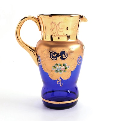 Bohemian Egermann Style Hand-Painted and Gilt Blue Glass Pitcher