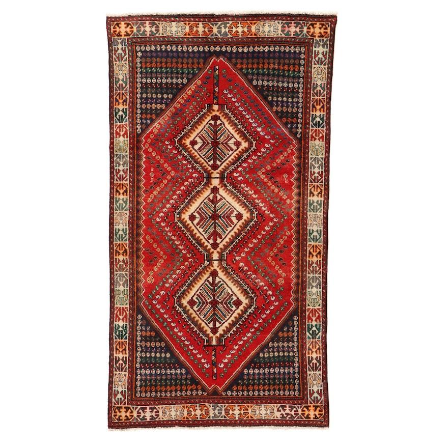 4'3 x 9'8 Hand-Knotted Persian Qashqai Shiraz Rug, 1960s
