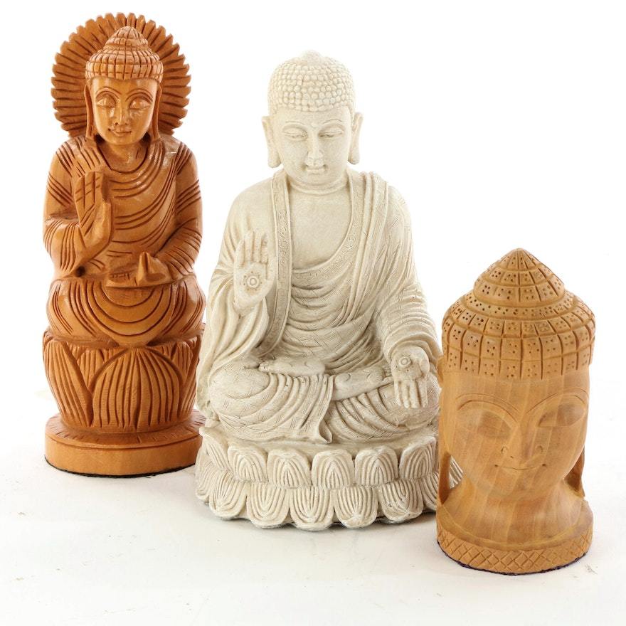 Carved Wood and Resin Buddha Figurines