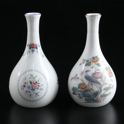 """Wedgwood """"Rosedale"""" and """"Kutani Crane"""" Bone China Bud Vases"""