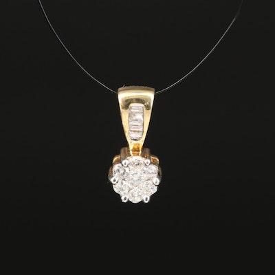 14K Diamond Cluster Ring Pendant