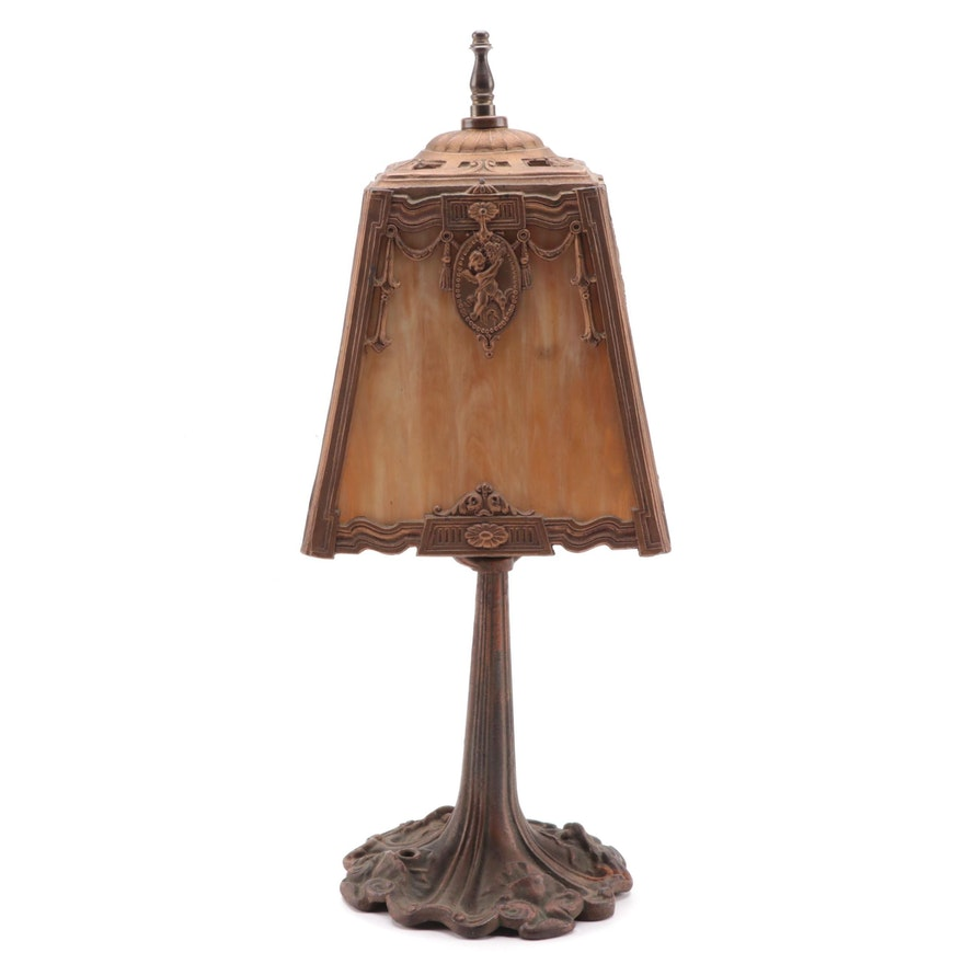 Neoclassical Style Patinated Base Butterscotch Slag Glass Lamp, Early 20th C