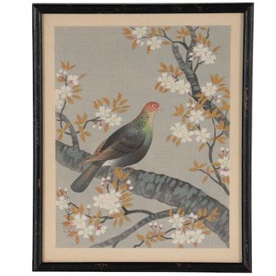"Ohno Bakufo Woodblock ""Turtle Dove and Cherry,"" Mid-20th Century"