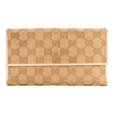 Gucci Trifold Wallet in GG Canvas with Ivory Leather Trim