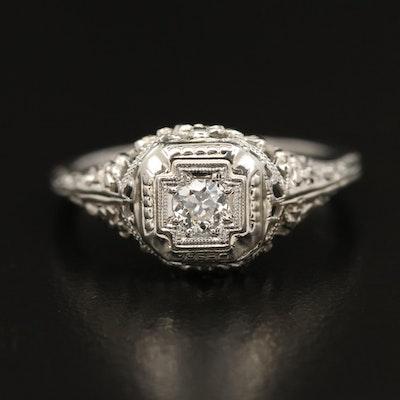 1930s 18K Diamond Openwork Ring