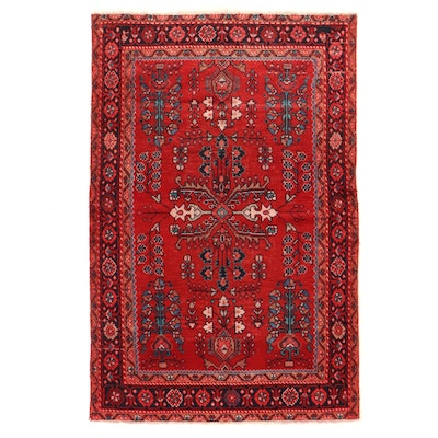 4'1 x 6'5 Hand-Knotted Persian Hamadan Floral Area Rug