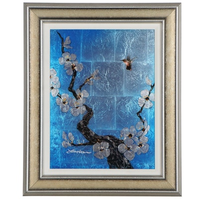 """Patrick Guyton Mixed Media Embellished Print """"Morning Glory"""""""