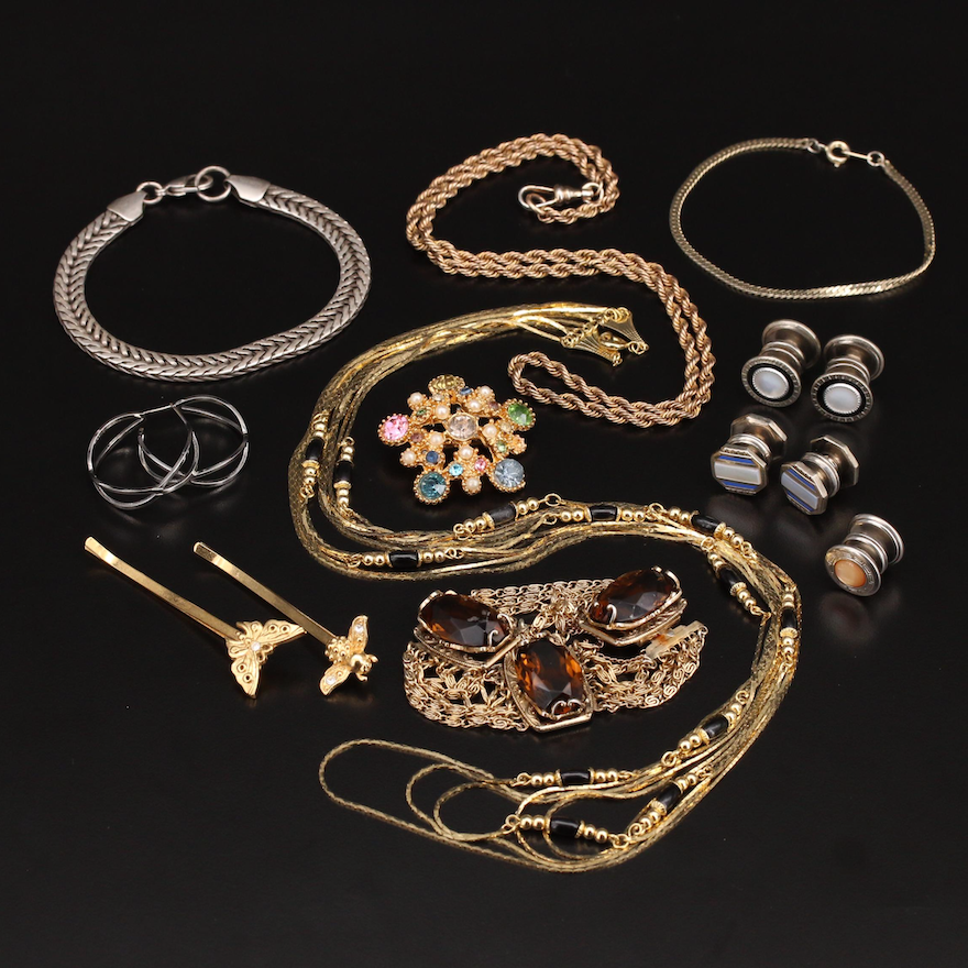 Jewelry Selection Including Sterling, Mother of Pearl and Gemstone
