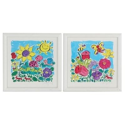 Sally Huss Digital Prints of Flowers and Insects, Late 20th Century