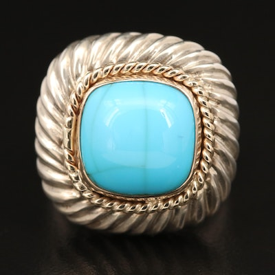 Sterling Turquoise Ring with 14K Accents
