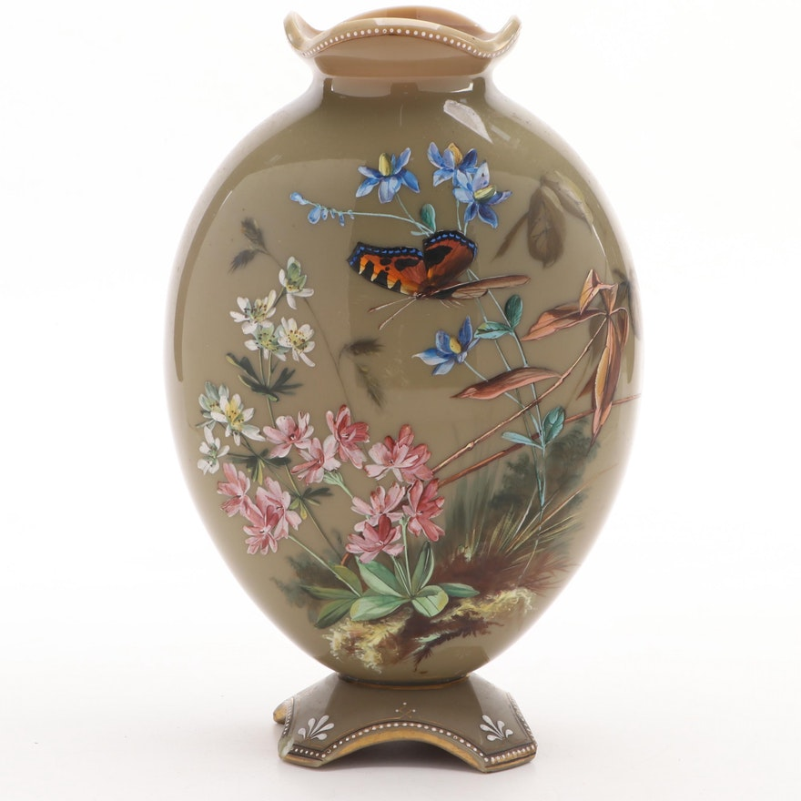 English Victorian Bristol Glass Clambroth Pillow Vase with Hand-Painted Enamel
