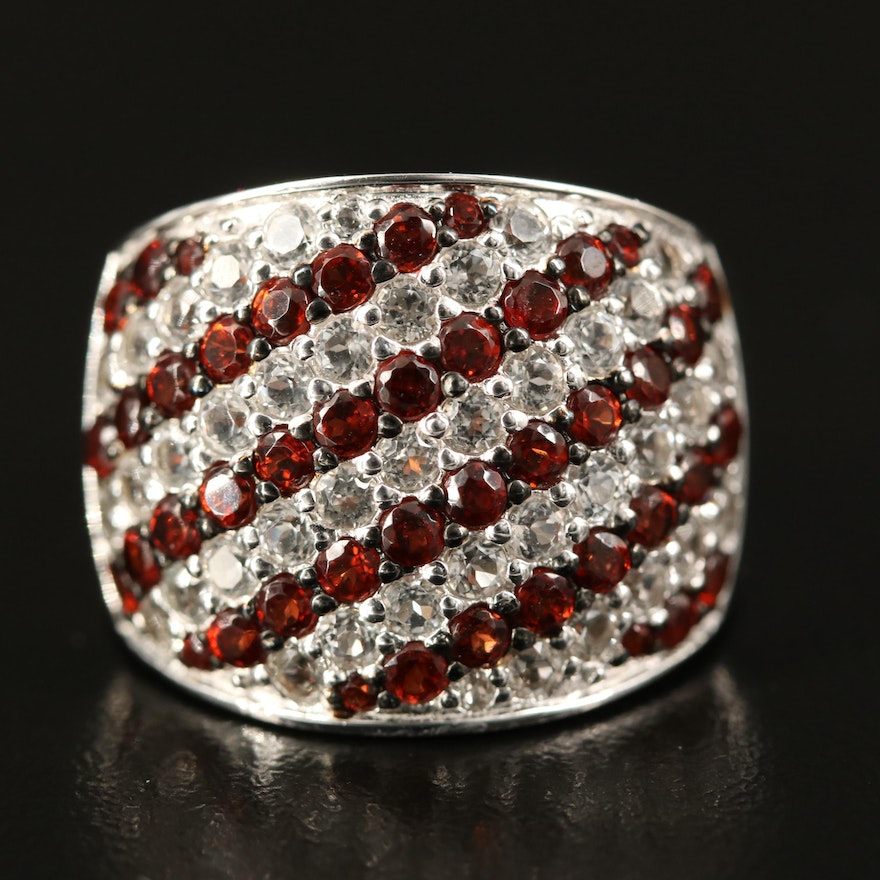 Sterling Silver Garnet and Sapphire Band