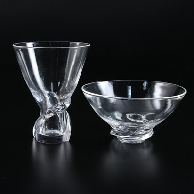 "Steuben Art Glass ""Spiral"" Vase and Bowl Designed by Donald Pollard"