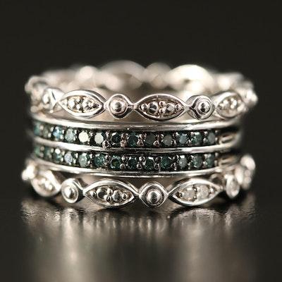 Sterling Silver Diamond Stacking Bands