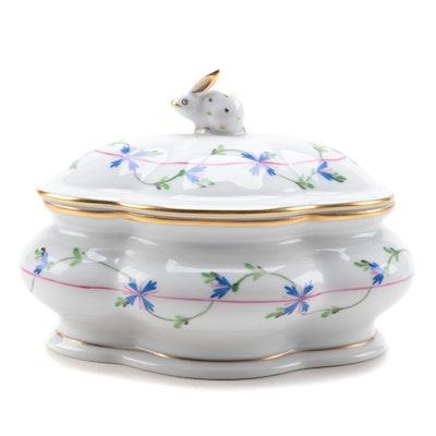 "Herend ""Blue Garland"" Porcelain Lidded Bon Bon Box"
