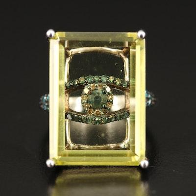 Sterling Silver Quartz, Topaz and Diamond Statement Ring