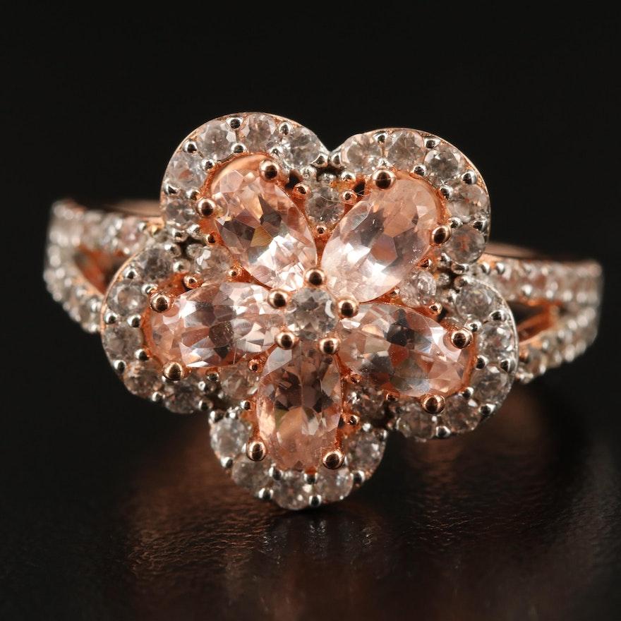 Sterling Morganite and Zircon Flower Ring