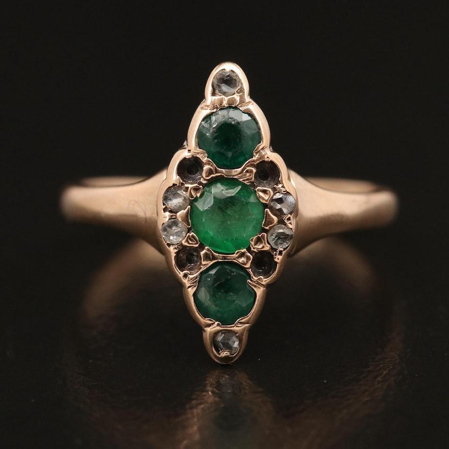 Victorian 10K Garnet, Diamond and Gemstone Navette Ring