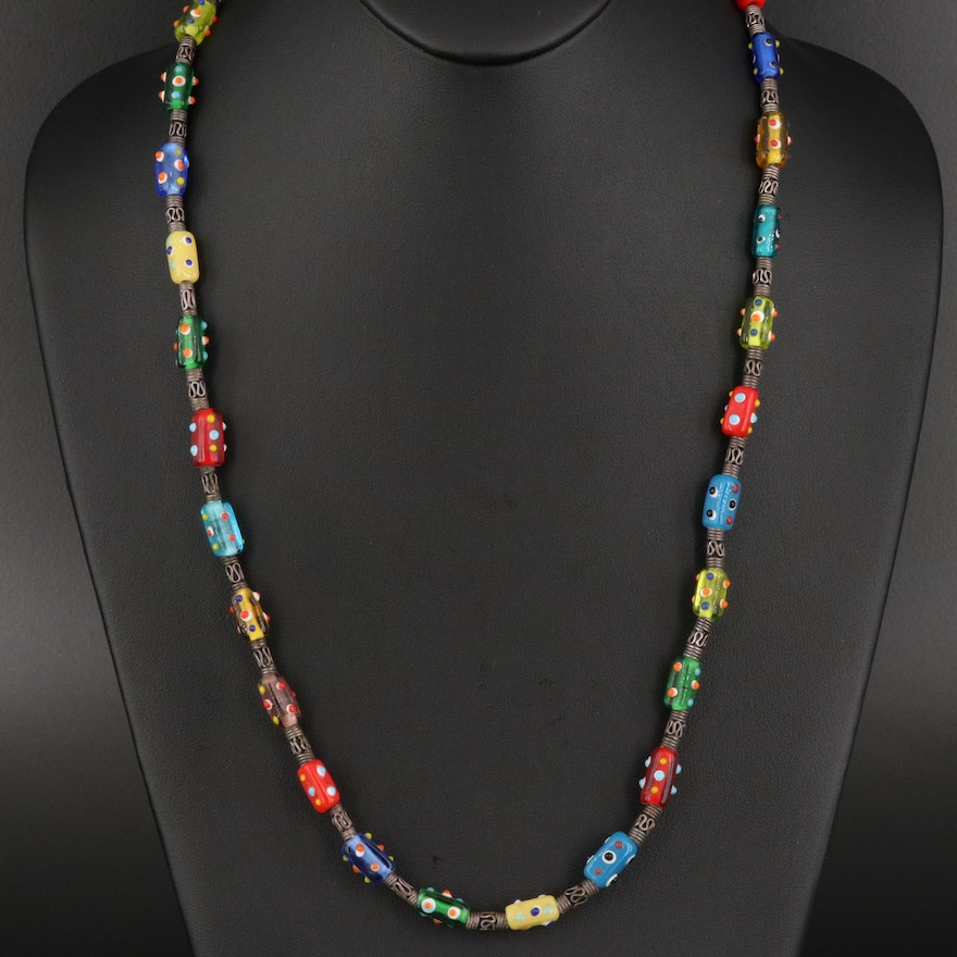 Sterling Silver and Lampwork Glass Bead Necklace