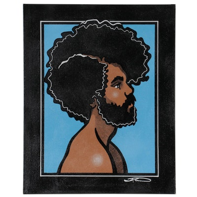 """Justin Campbell Acrylic Portrait Painting """"Untitled,"""" 2021"""