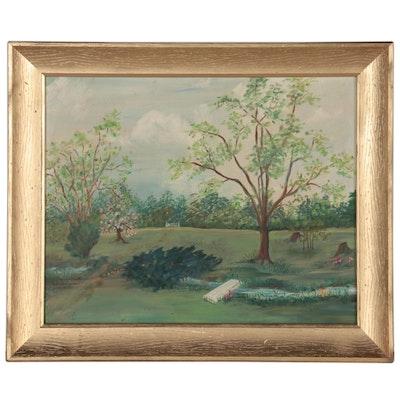 Lucille M. Kuntz Landscape Oil Painting of Ainsworth Yard, 1967