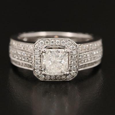18K 1.50 CTW Diamond Halo Ring